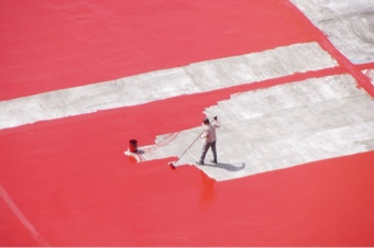 concrete surface painted red