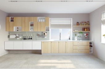 kitchen painted white and bright
